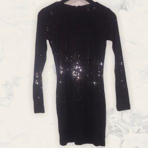 NWT Forever 21 Sequin Long Sleeve Black Dress, S